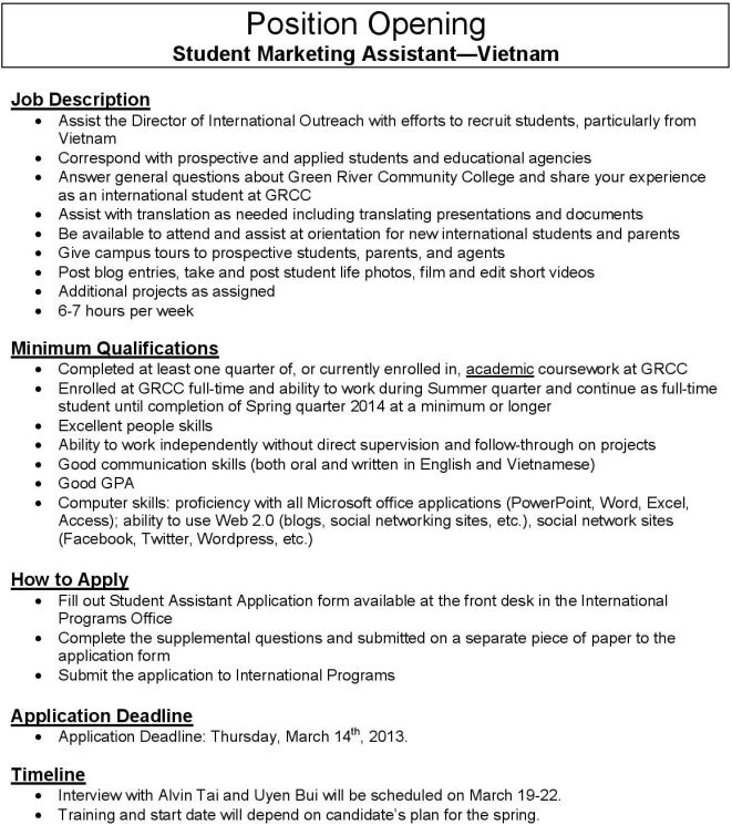 Marketing Assistant Job Description Marketing Assistant Description - marketing assistant job description