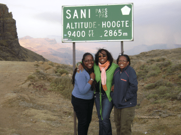 Travelers at Sani Pass, Lesotho