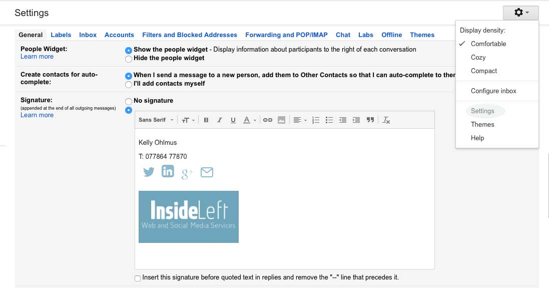 How to add Gmail signature images using WordPress - Inside Left