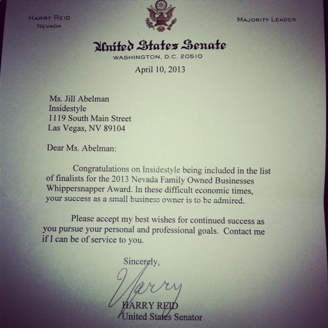 Letter from Senator Harry Reid