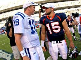 Peyton Manning, left, and Tim Tebow in 2010.