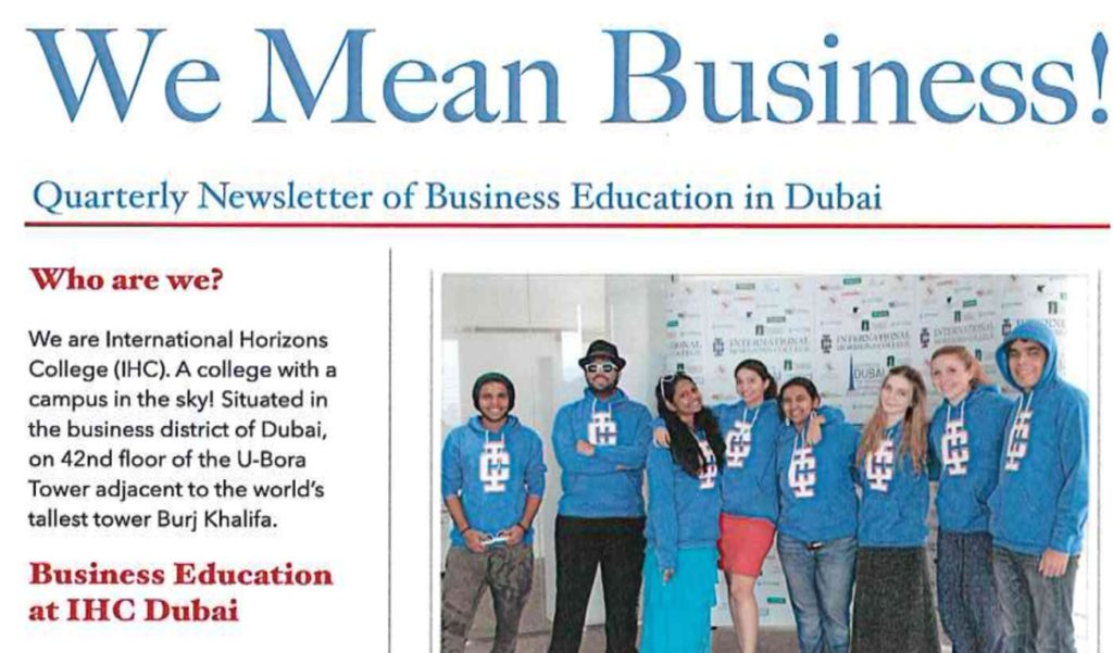IHC Dubai Launches First Edition of the Business Newsletter 2016 - business newsletter
