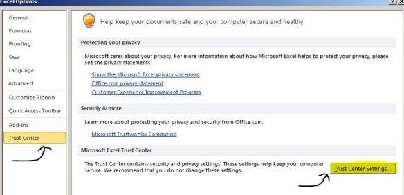 excel 2010 trust center settings