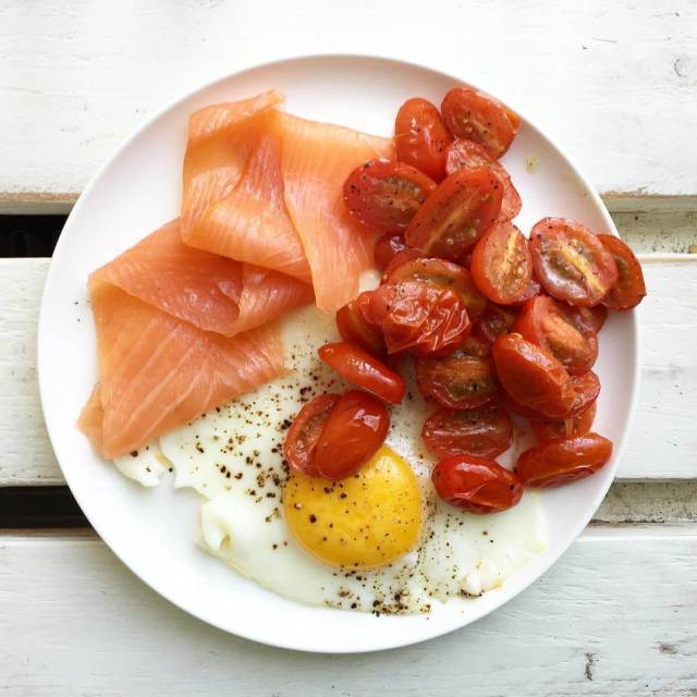 Day 9 whole30 breakfast! Smoked salmon with egg and roastedhellip