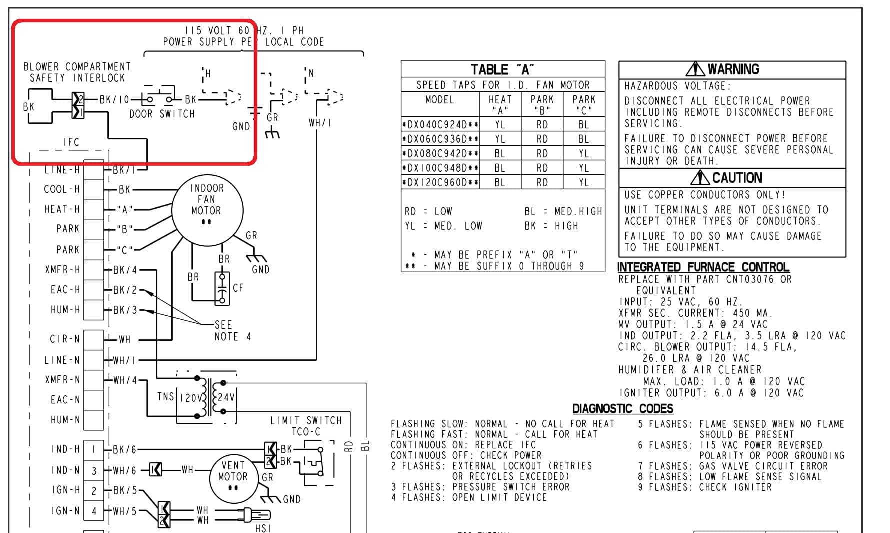 furnace wiring diagram trane blower compartment door switch wiring