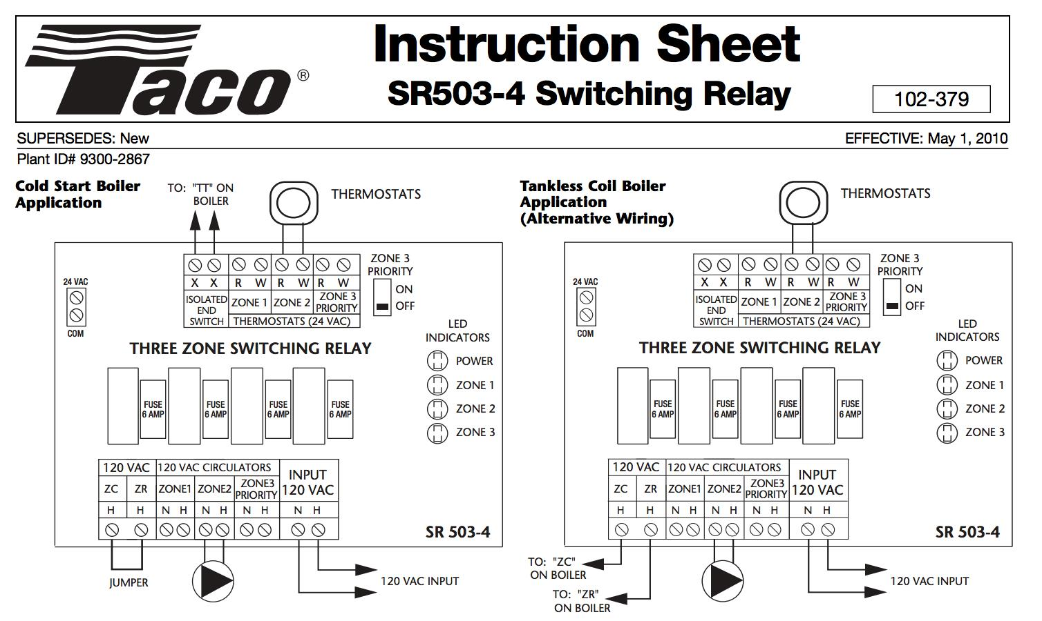 taco sr502 switching relay wiring