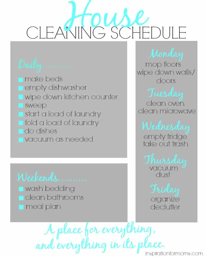 housework schedule - Tomadaretodonate - housework schedule