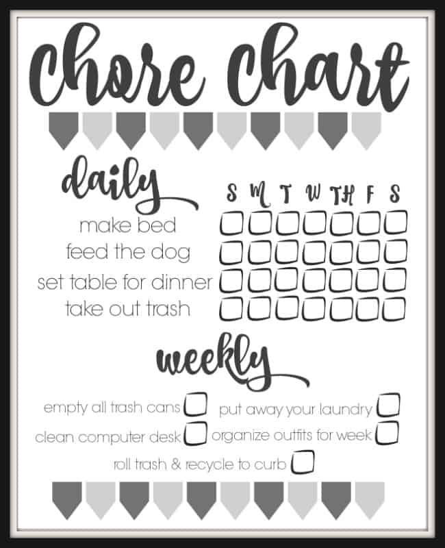 DIY Printable Chore Chart - Inspiration For Moms
