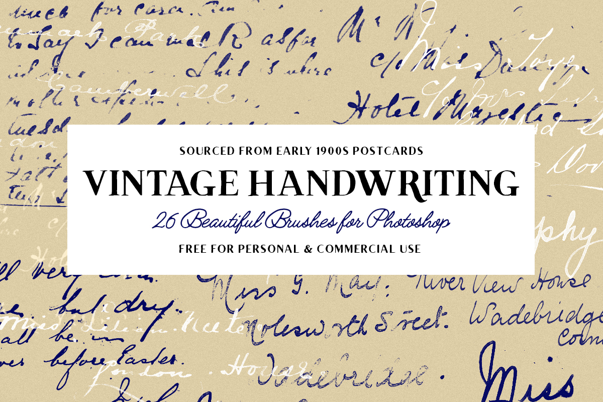 55 Vintage Photoshop Brushes Cursive Handwriting Postage Stamps And More Free Download