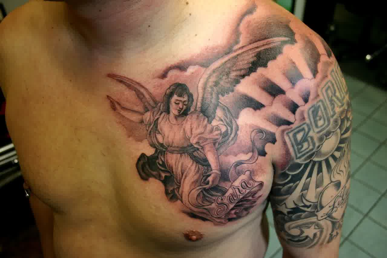 Men chest tattoo design angel