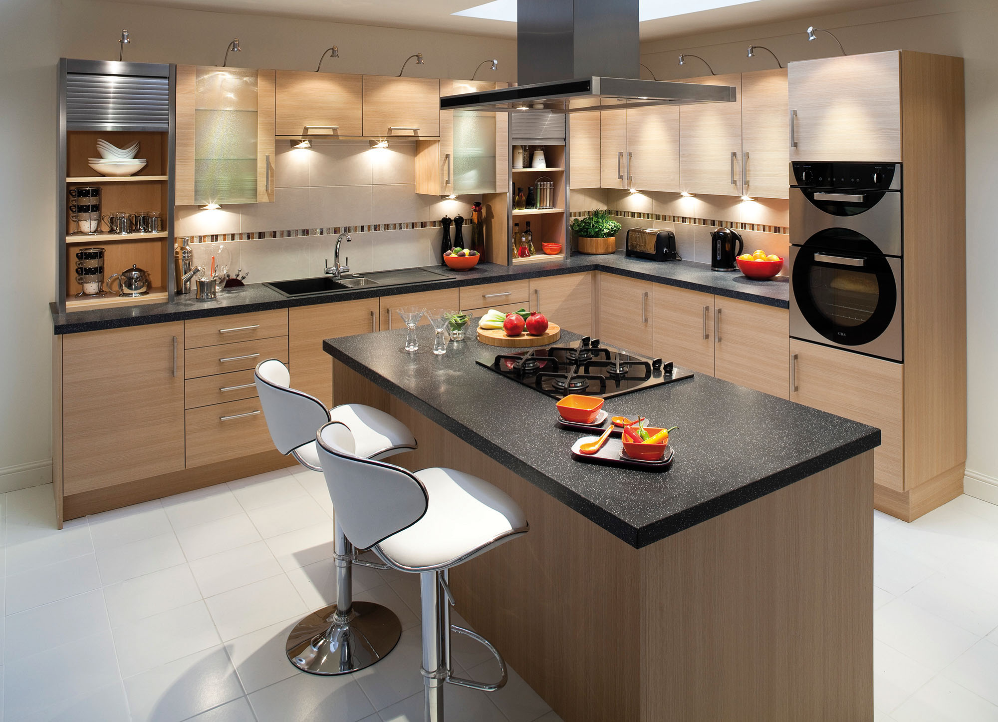 Contemporary Small Kitchen Design Ideas with Wooden Cabinetry and Kitchen Island with Seating