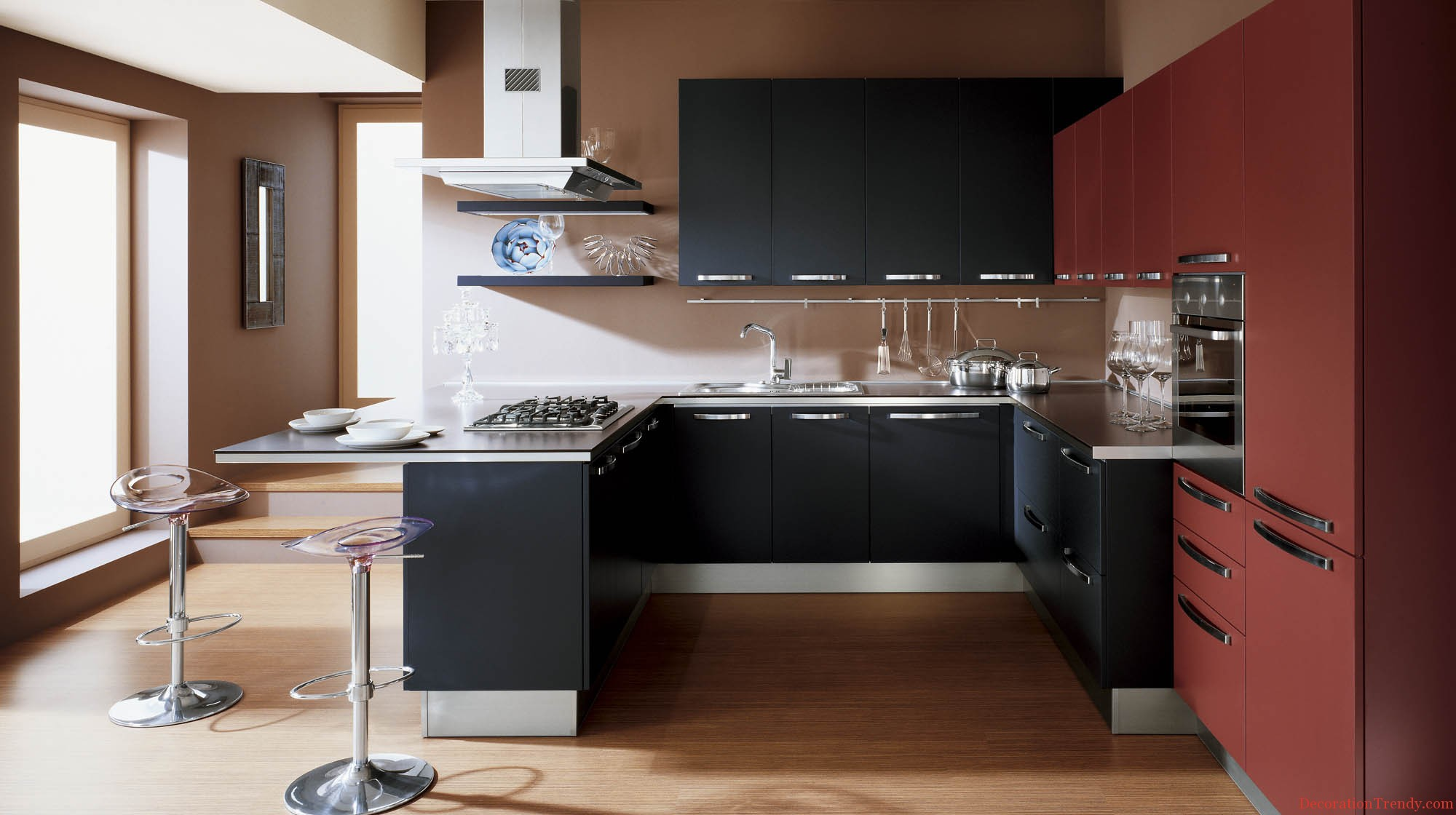 contemporary small kitchen design black red cabinet dining kitchen designs small kitchen kitchen sleek kitchen designs