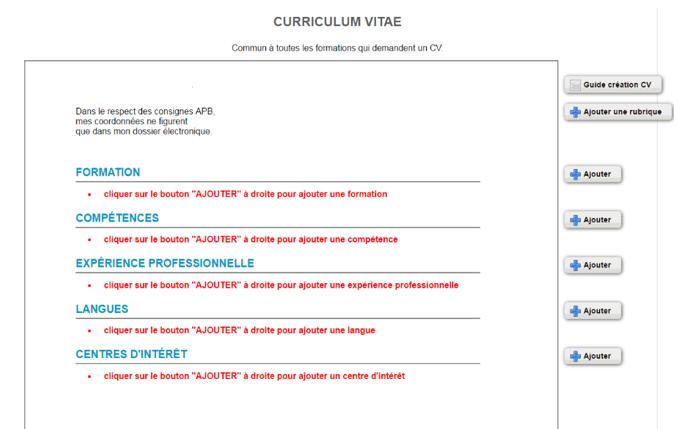 parcoursup competence cv