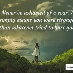 Never Be Ashamed of a Scar.. It Means ..