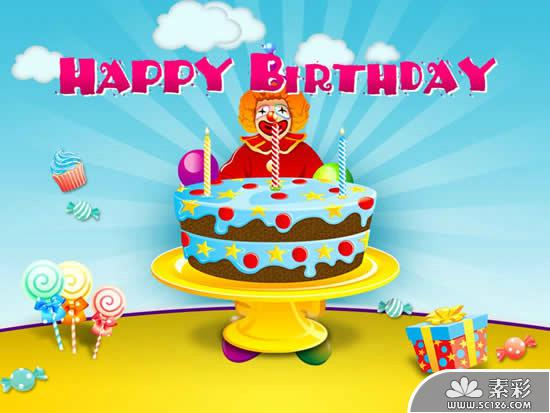 Cartoon Happy Birthday Ppt Template PPT