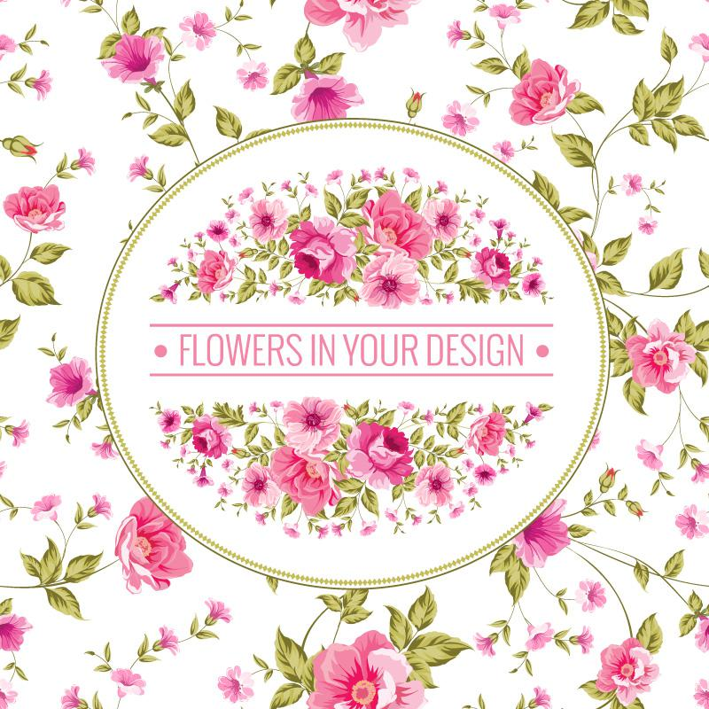 Pink Flower Background Vector Design EPS
