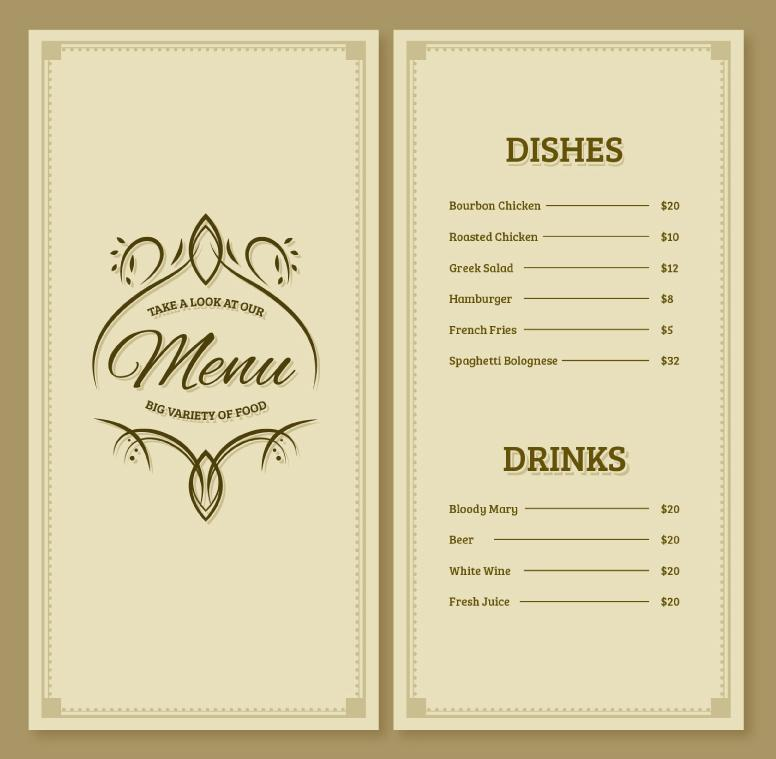 Elegant Restaurant Menu Design Vector AI