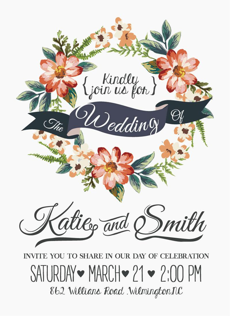 Watercolor Flower Wedding Invitations Vector Eps