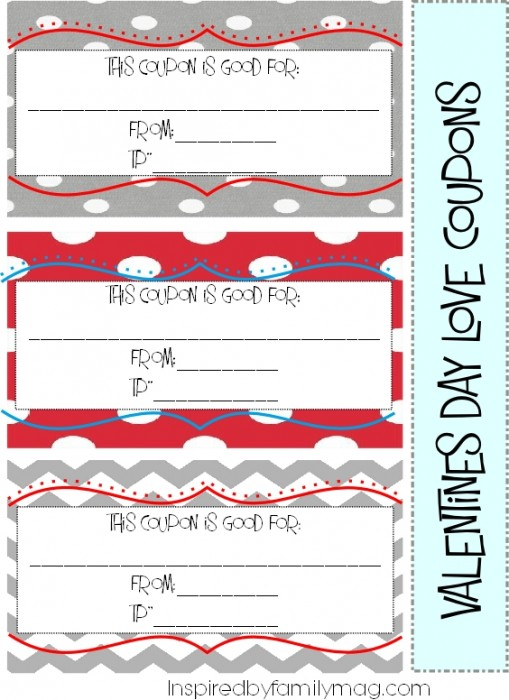 Valentine\u0027s Day Activity Love Coupons for the Family