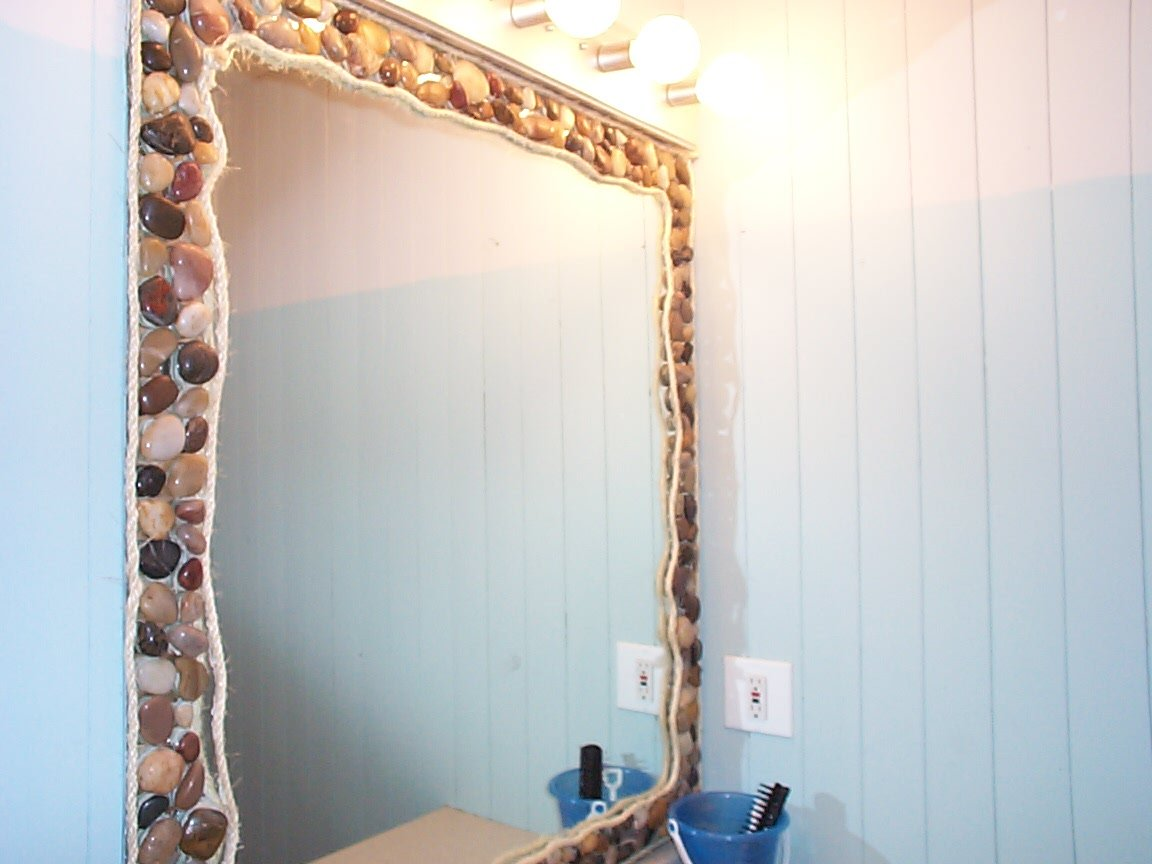 Stone Framed Bathroom Mirrors Beach Essence Bathroom Essence De Plage Home Interior