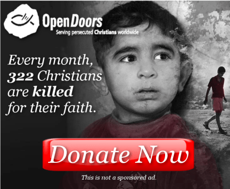 NEW FUNDRAISER: OpenDoors USA, Helping Persecuted Christians Around the World