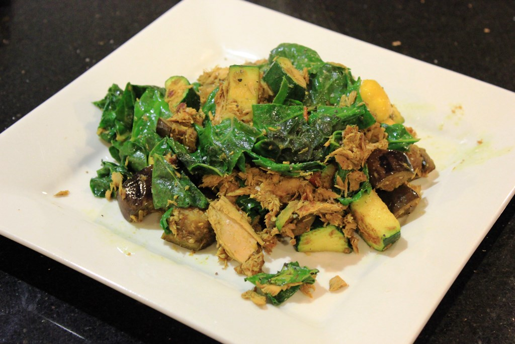Curry tuna with eggplant, squash, zucchini and spinach
