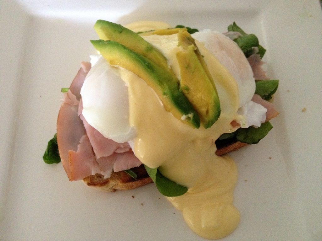 Eggs Benedicte with ham, baby spinach and avocado