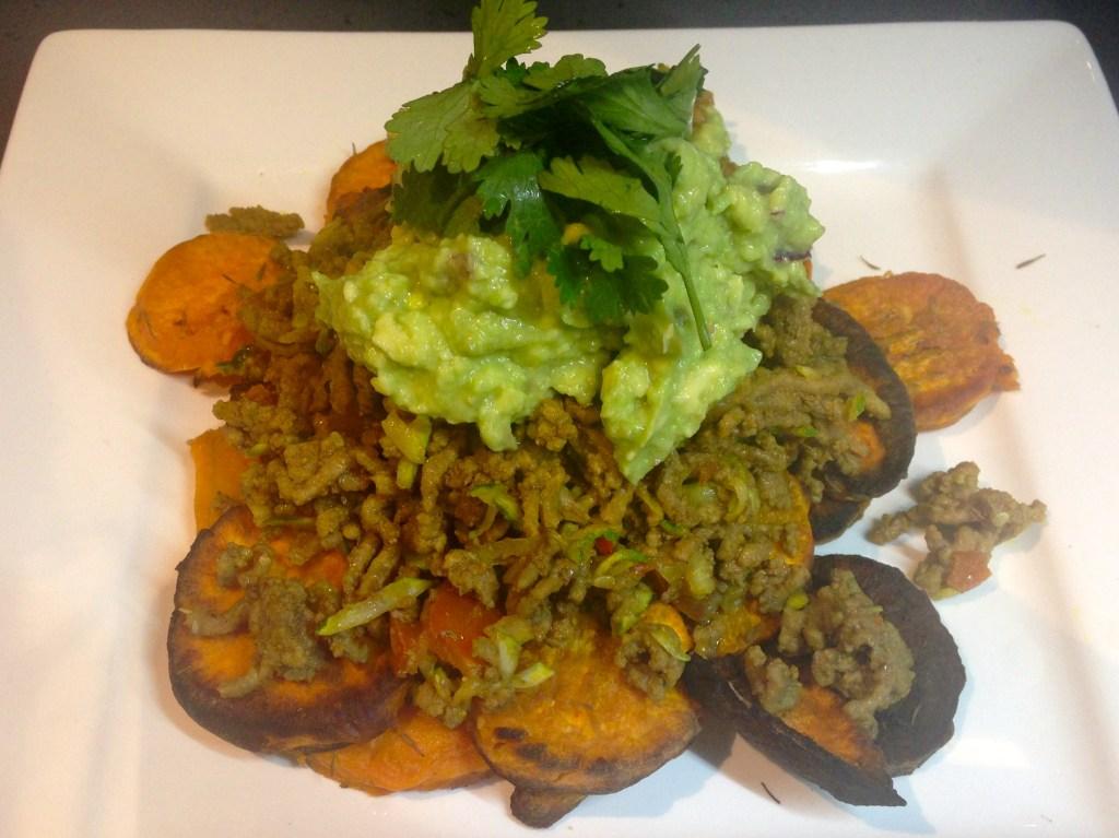 Paleo beef nachos with guacamole