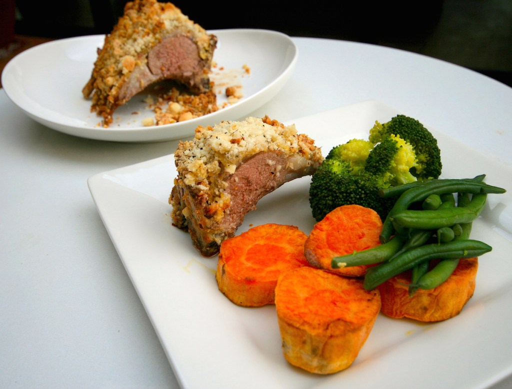 Macadamia crusted lamb rack