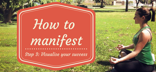 How to Manifest - Step 3: Visualise your success. Girl meditating on grass in a park