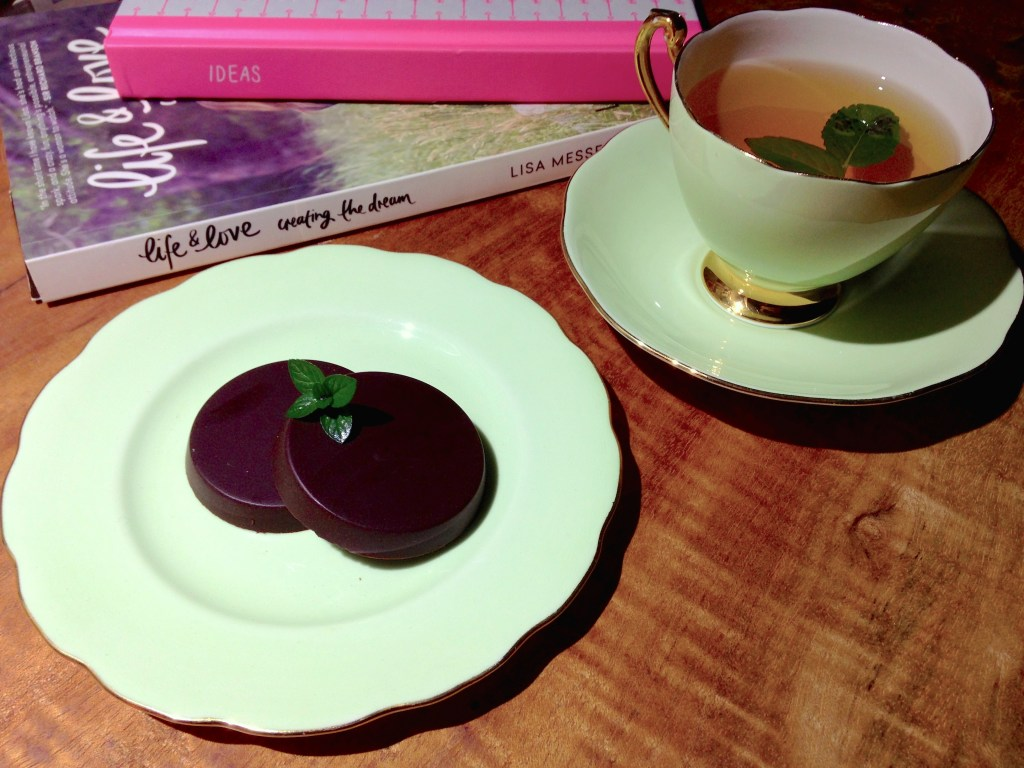 A sweet evening treat: circling up with a book, notepad and Chocolate After Dinner Mints, served with green tea with fresh mint and basil