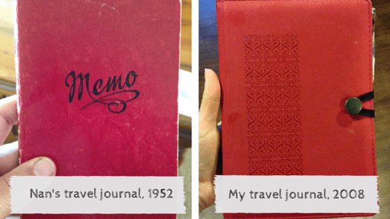 Two travel journals: grandmother's and mine