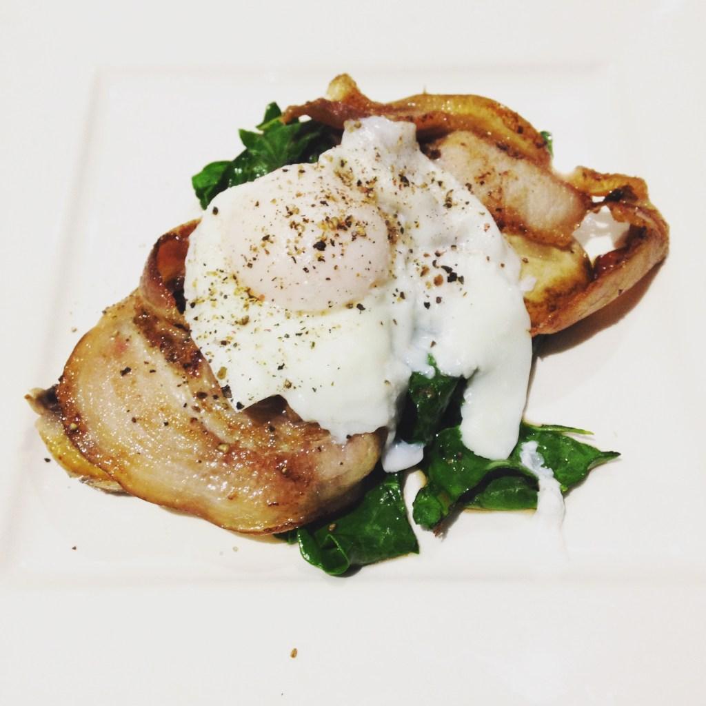 Breakfast: Poached egg, bacon, Portobello mushroom and spinach