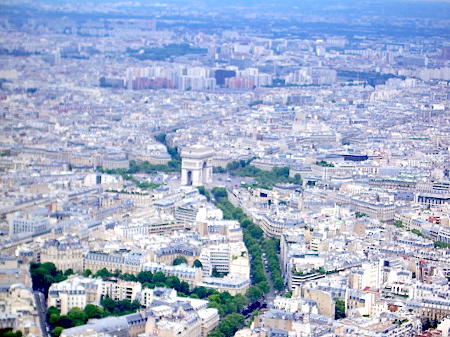 The view from the top of the Eiffel Tower, with the Arc de Triomphe at the centre. On a clear day you can see for 75kms.