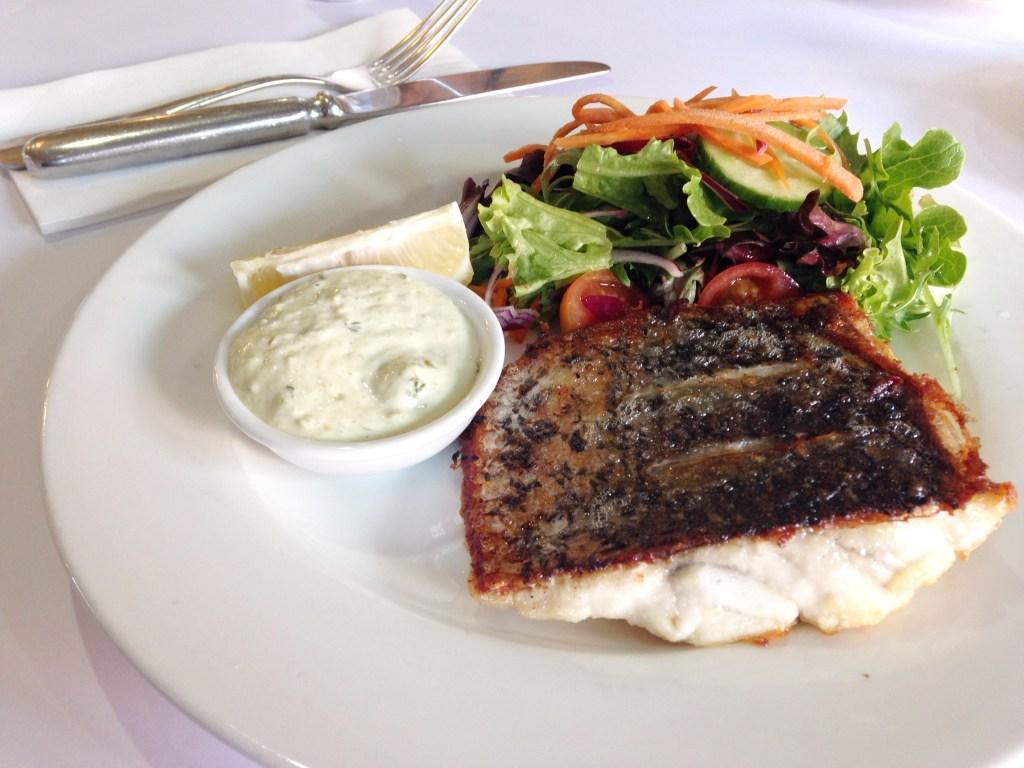 Grilled barramundi and salad
