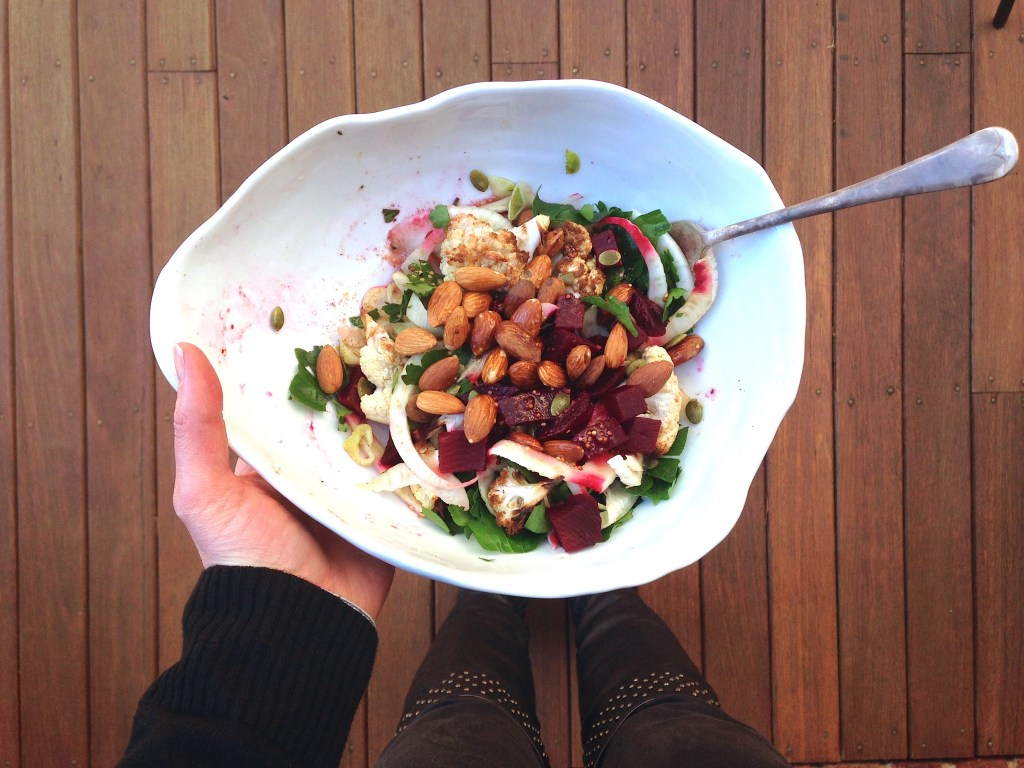 Leftover fennel, beetroot and cauliflower salad with almonds