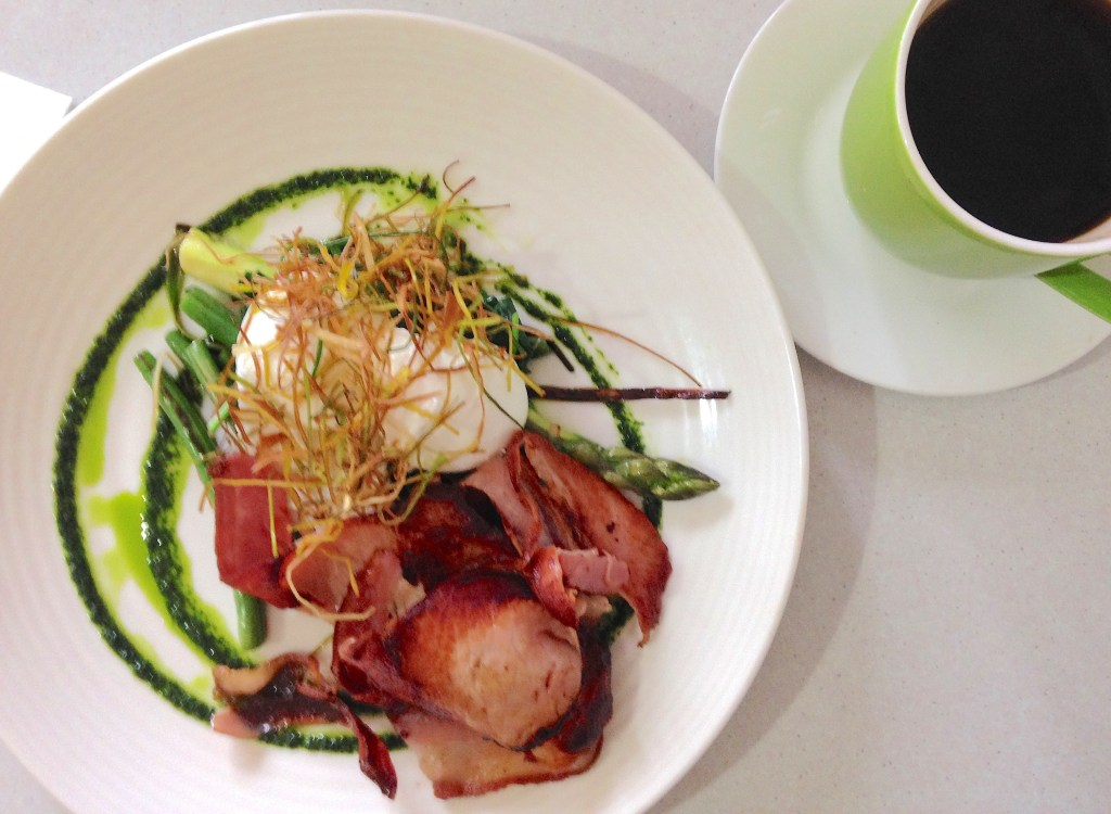 Poached eggs, bacon, leek, green beans and asparagus