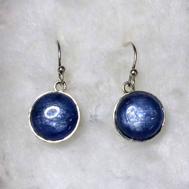 Blue Kyanite Circle Earrings (Sterling Silver)