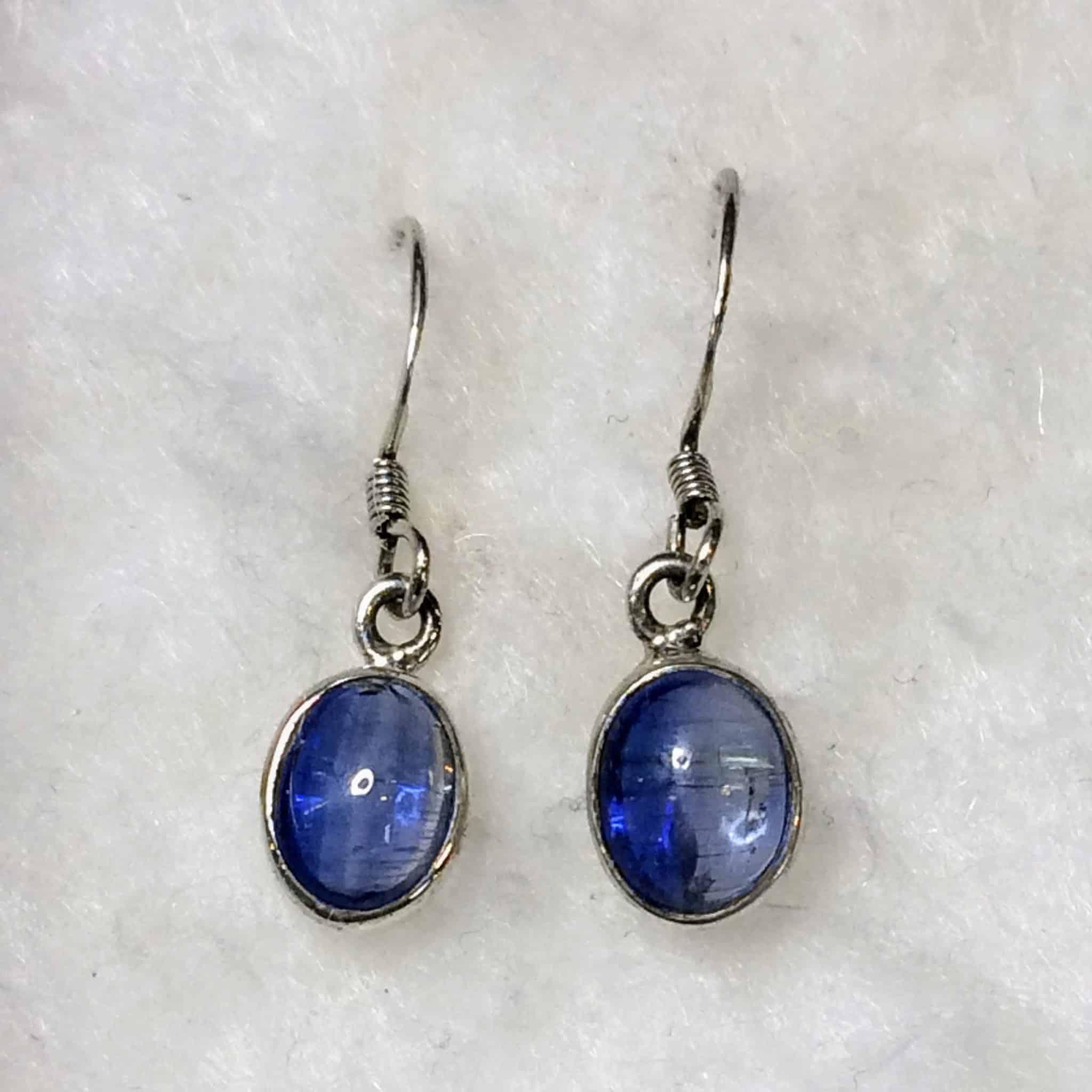 Blue Kyanite Polished Oval Earrings (Sterling Silver