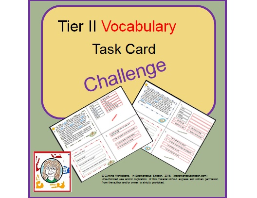Free Tier II Vocabulary Task Card Challenge - In Spontaneous Speech - vocab cards