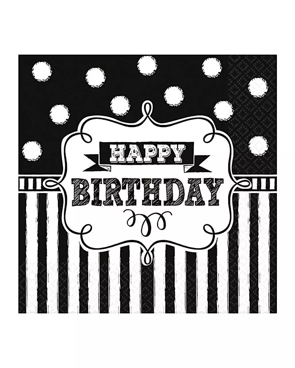 Schwarze Servietten Happy Birthday Servietten Black White 16 St