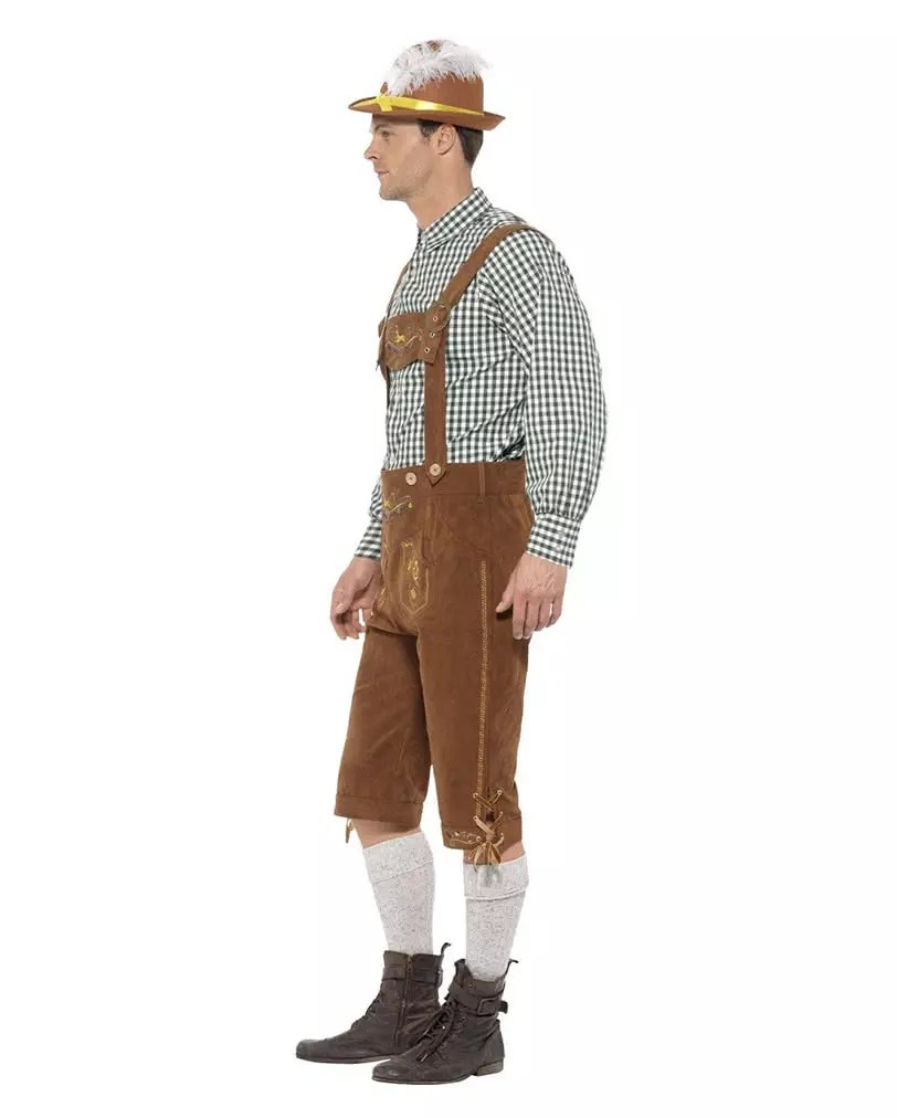 Oktoberfest Mottoparty Bavarian Leather Trousers Costume With Plaid Shirt