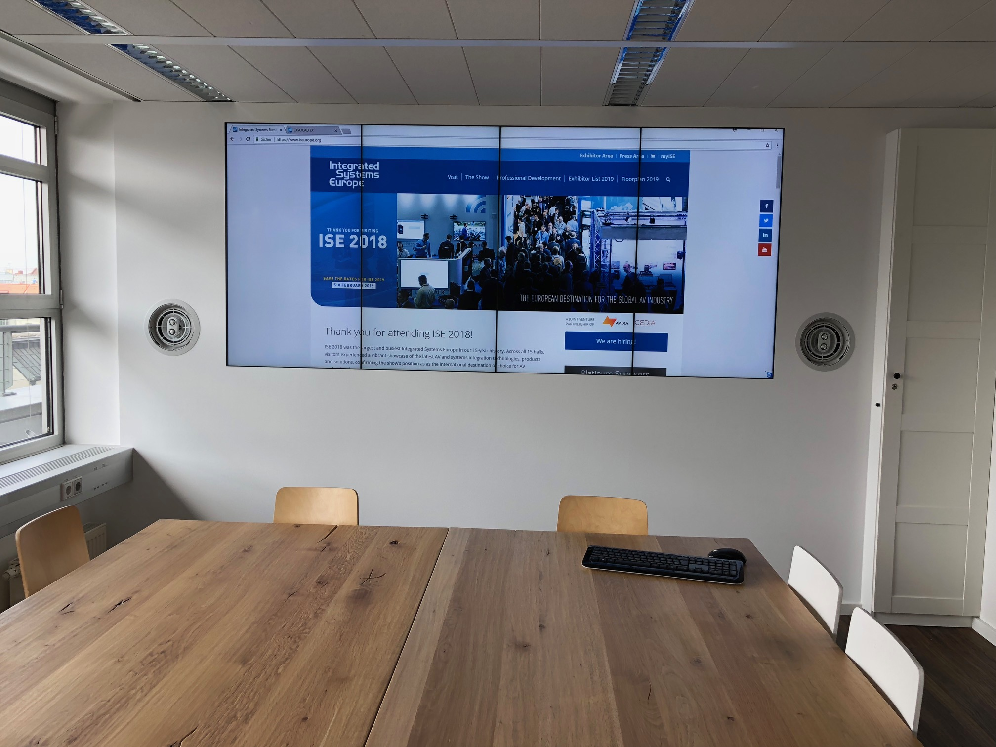 Cedia Exhibitor List Video Wall At Ise S Munich Hq Transforms Lunch Area Into