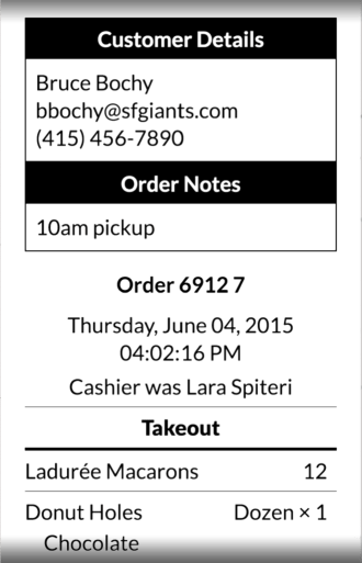 Bakery POS order ticket