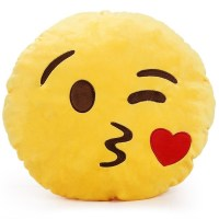 Soft Emoji Cushion Pillow Emoticon Round Yellow Stuffed ...