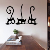 DIY Three Cats Wall Stickers Removable Living Room Decor ...