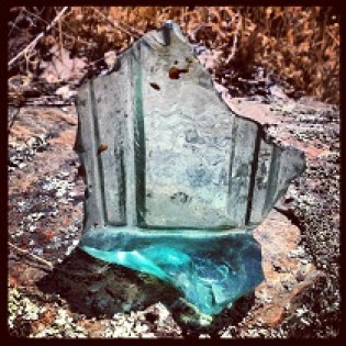 Broken green glass found along the South Fork American River Trail.