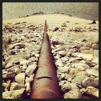 Water pipe for Peninsula Campground extending down to Folsom Lake