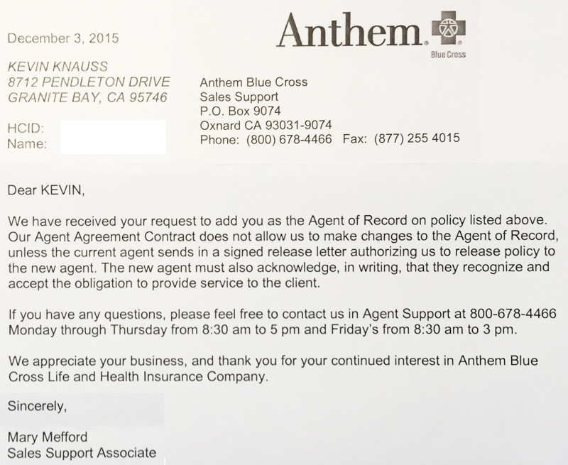 Anthem Blue Cross denies Covered California consumers agent - delegation letter