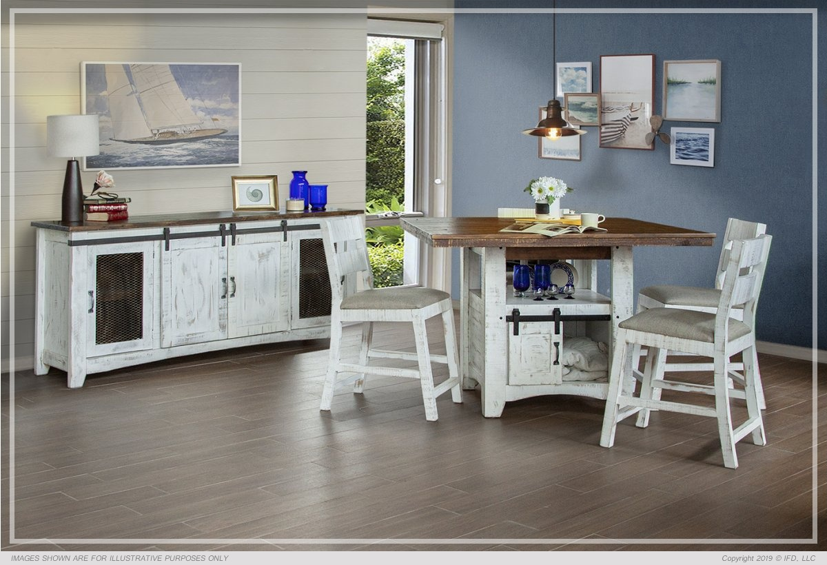 Kitchen Island With Rectangular Table Top And Storage Ifd :: Counter-height Dining Sets / 360 Pueblo White
